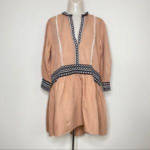 Zara Moroccan Drop Waist Bohemian Tunic Dress